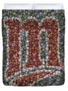 Minnesota Twins Baseball Mosaic Duvet Cover by Paul Van Scott
