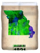 Missouri Watercolor Map Duvet Cover by Naxart Studio