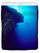 Molokini, Diver In Distance Duvet Cover by Dave Fleetham - Printscapes
