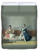 Monsieur Levett And Mademoiselle Helene Glavany In Turkish Costumes Duvet Cover by Jean Etienne Liotard