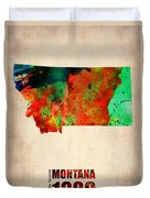 Montana Watercolor Map Duvet Cover by Naxart Studio