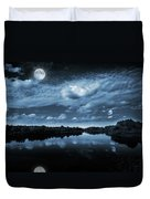Moonlight Over A Lake Duvet Cover by Jaroslaw Grudzinski