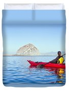 Morro Bay Kayaker Duvet Cover by Bill Brennan - Printscapes
