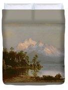 Mountain Canoeing Duvet Cover by Albert Bierstadt