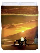 Mq-1 Predator Titled Anytime Anyplace Duvet Cover by Todd Krasovetz