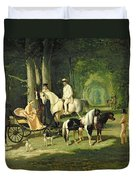 Mr And Mrs A Mosselman And Their Two Daughters Duvet Cover by Alfred Dedreux