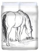 Mustang Mare Field Sketch Duvet Cover by Dawn Senior-Trask
