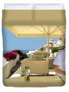 Mykonos Restaurant Duvet Cover by Madeline Ellis