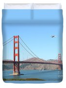 Nasa Space Shuttle's Final Hurrah Over The San Francisco Golden Gate Bridge Duvet Cover by Wingsdomain Art and Photography