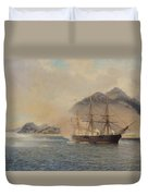 Naval Battle Of The Strait Of Shimonoseki Duvet Cover by Jean Baptiste Henri Durand Brager