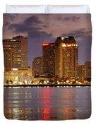New Orleans Skyline at DUSK Duvet Cover by Jon Holiday