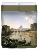 New Rome With The Castel Sant Angelo Duvet Cover by Silvestr Fedosievich Shchedrin