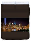 New York City Tribute In Lights And Lower Manhattan At Night Nyc Duvet Cover by Jon Holiday