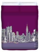 New York In Purple Duvet Cover by Lee-Ann Adendorff