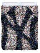 New York Yankees Bottle Cap Mosaic Duvet Cover by Paul Van Scott