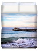 Newport Beach Ca Pier At Sunrise Duvet Cover by Paul Velgos