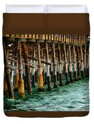 Newport Beach Pier Close Up Duvet Cover by Mariola Bitner