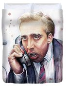 Nicolas Cage A Vampire's Kiss Watercolor Art Duvet Cover by Olga Shvartsur