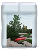 North Country Canoe Duvet Cover by Kenneth M  Kirsch