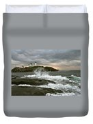Nubble Light In A Storm Duvet Cover by Rick Frost