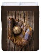 Old Baseball Mitt And Ball Duvet Cover by Garry Gay