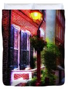 Old City Streets - Elfreth's Alley Duvet Cover by Bill Cannon