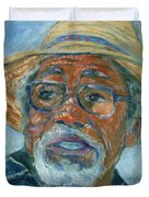 Old Man Wearing A Hat Duvet Cover by Xueling Zou