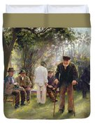 Old Men In Rockingham Park Duvet Cover by Walter Bonner Gash