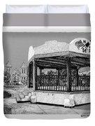 Old Mesilla Plaza And Gazebo Duvet Cover by Jack Pumphrey