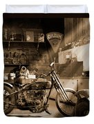 Old Motorcycle Shop Duvet Cover by Mike McGlothlen