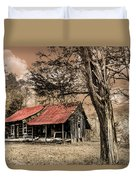 Old Mountain Cabin Duvet Cover by Debra and Dave Vanderlaan