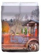 Old Truck and Gas Filling Station Duvet Cover by Douglas Barnett