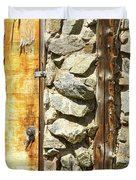 Old Wood Door Window And Stone Duvet Cover by James BO  Insogna