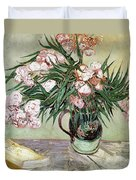 Oleanders And Books Duvet Cover by Vincent van Gogh