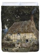 On The Brook Road Near Witley Duvet Cover by Helen Allingham