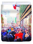 On The Day Before Christmas . Stockton Street San Francisco . Photo Artwork Duvet Cover by Wingsdomain Art and Photography