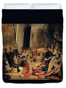 On The Deck During A Sea Battle Duvet Cover by Francois Auguste Biard
