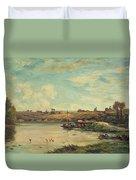 On The Loire Duvet Cover by Charles Francois Daubigny