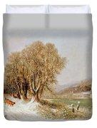 On The River Neckar Near Heidelberg Duvet Cover by Joseph Paul Pettit
