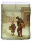 On The Way To School In The Snow Duvet Cover by Pierre Edouard Frere