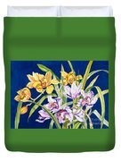 Orchids In Blue Duvet Cover by Lucy Arnold