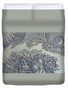 Original Linoleum Block Print Duvet Cover by Thor Senior