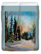 Ormstown Quebec Winter Road Duvet Cover by Carole Spandau