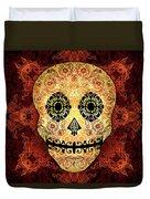 Ornate Floral Sugar Skull Duvet Cover by Tammy Wetzel