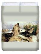 Otter Hounds Duvet Cover by Sir Edwin Landseer