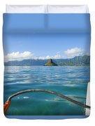 Outrigger On Ocean Duvet Cover by Dana Edmunds - Printscapes