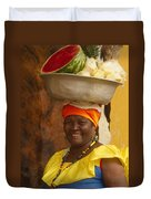 Palenquera In Cartagena Colombia Duvet Cover by Anna Smith