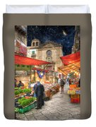 Palermo Market Place Duvet Cover by Juli Scalzi