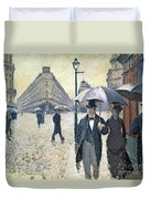 Paris A Rainy Day Duvet Cover by Gustave Caillebotte