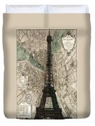 Paris Vintage Map And Eiffel Tower Duvet Cover by Georgia Fowler